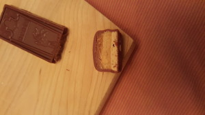 This is what a peanut butter Snickers looks like when cut in half. You may die in peace now.