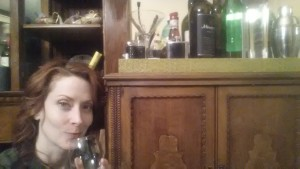 The famous liquor cabinet is Dawn's best friend
